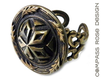 Victorian Jewelry, Antique Button Ring Victorian Button Ring Brass Patina Antique Button on Brass Filigree by Compass Rose Design