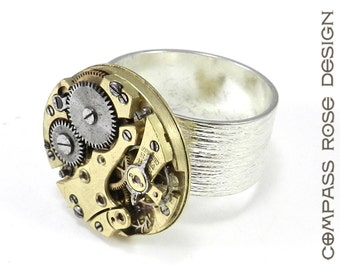 Steampunk Ring - Gold on Silver - Antique Mechanical Watch Movement Etched Sterling Silver Plate Adjustable Band