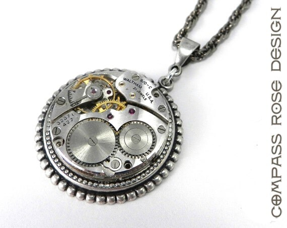 Steampunk Necklace - Silver Clockwork Watch Movement Steampunk Necklace - 21 Jewel Waltham Pendant