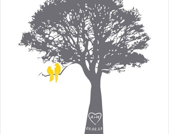 Valentines day gift Love birds in a tree print, grey and yellow, wedding tree, wedding paper anniversary gift, wedding keepsake