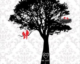 Family tree with birds, wedding anniversary gift, paper anniversary, waiting tree would love birds, red black, baby shower custom gift