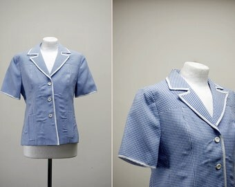 1960's Mod Top, Blue Gingham Jacket Top, Short Sleeve Checkered Top