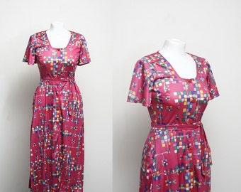 1970's Maxi Dress Button Front Dress XS Small Fuschsia Pink Summer Dress
