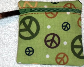 Handmade - Peace sign zippered pouch  -  fabric Gift Card Holder - free shipping