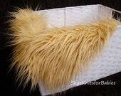 "Camel Mongolian Faux Fur Fabric Prop 18""x20"", Newborn Props, Faux Fur Prop, Fur Blanket, Basket Filler, Craft Fur"