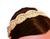 LIGHT TAN Bohemian Crochet Headband - Adult Size - Halo Headband Ladies Boho Womens Hippie Hair Band Summer
