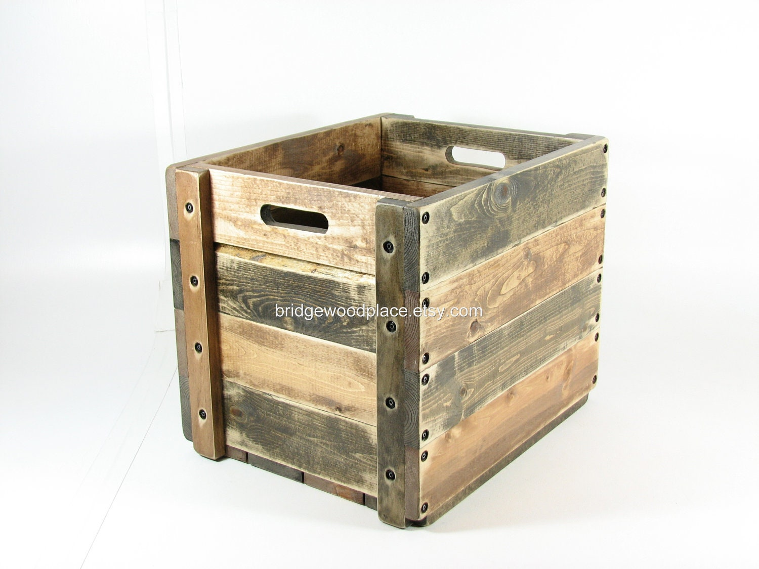 wood crate wooden box table furniture storage with two toned