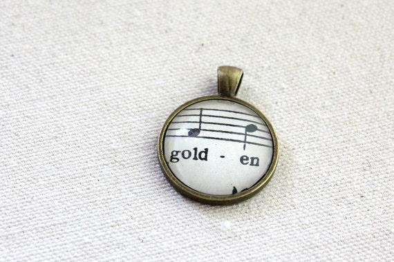 SECONDS SALE imperfect pendant sheet music under glass pendant golden