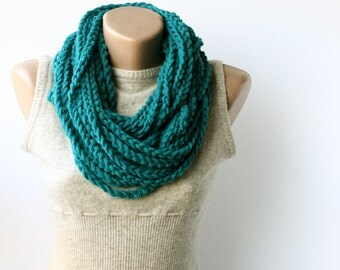Black Friday Cyber Monday Teal infinity scarf wool crochet neckwarmer Chain scarf Blue green Gift under 20