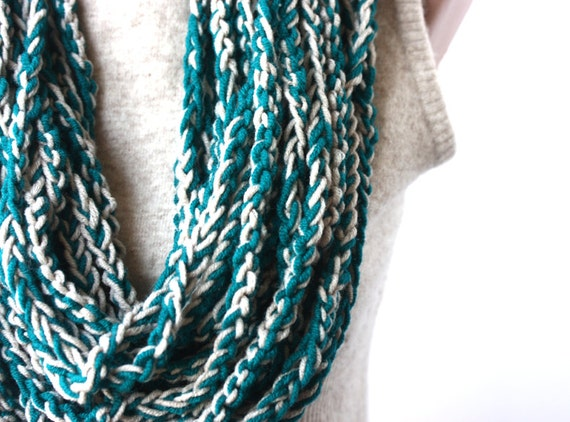 Crochet infinity scarf - loop chain necklace - dark teal grey - Fall fashion back to school
