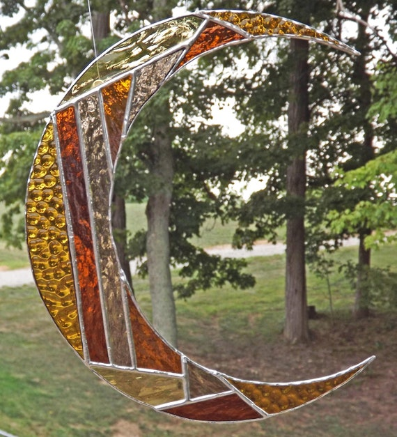 Stained Glass Moon Suncatcher  Fall Decor Colors Brown Gold Tan Rust