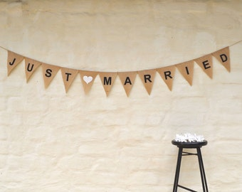 JUST MARRIED Hessian Burlap Wedding Celebration Party Banner Bunting Decoration