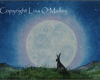 """ACEO Print Hare """"Moonglow"""" Moon"""