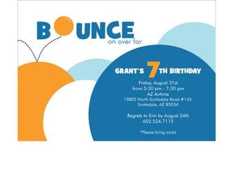 Trampoline Bounce Birthday Invitations