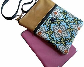 Honey Dijon Yellow Gold Leather Medallion Flowers Blue Gray  Fabric Apple iPad Kindle DX Fire Computer Travel Messenger Bag Sling Purse