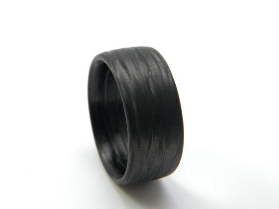 Custom Carbon Fiber Ring in 'Damascus' Grain, 11mm YOU CHOOSE SIZE