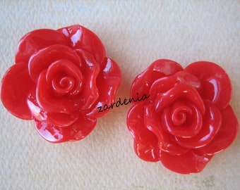 2PCS - Begonia Cabochons - Glossy - 30mm - Red - Cabochons by ZARDENIA