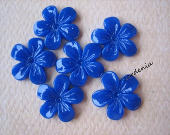6PCS - Mini Violet Flower Cabochons - 11mm - Resin - Royal Blue - Cabochons by ZARDENIA