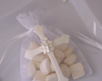 First Communion, baptism, confirmation Cross party favor bags 10 pieces
