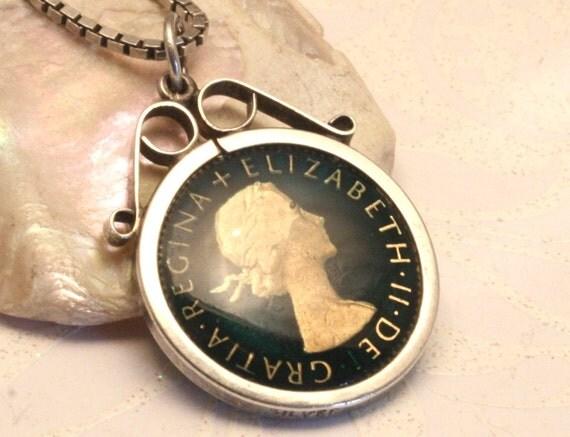 Vintage enamel sixpence pendant necklace. Sterling silver