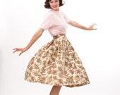 Vintage 1950s Skirt - 50s Full Skirt - Warm Pink Paisley Print
