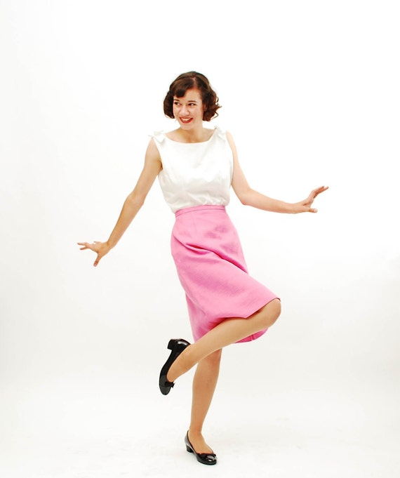 Vintage 1960s Skirt - 60s A Line Skirt - Bubblegum Pink