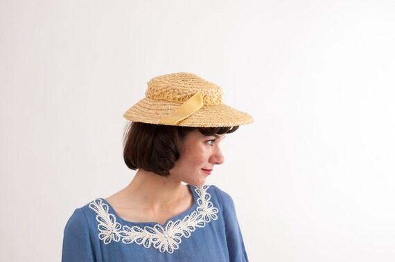 Vintage 1950s Straw Hat - 50s Wide Brim Hat - Natural Straw