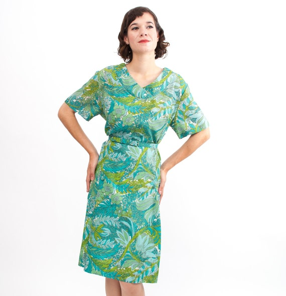 Vintage 1960s Dress - 60s Floral Dress - Blue & Green Floral Print - Plus Size