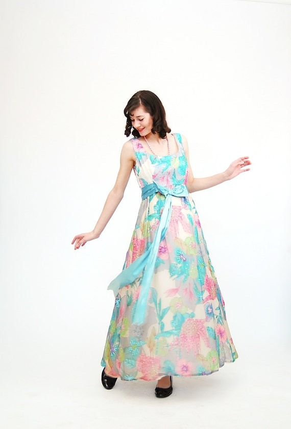 Clearance - Vintage 1970s Formal Dress - 70s Evening Gown - Beaded and Sequined Pastel Floral Print