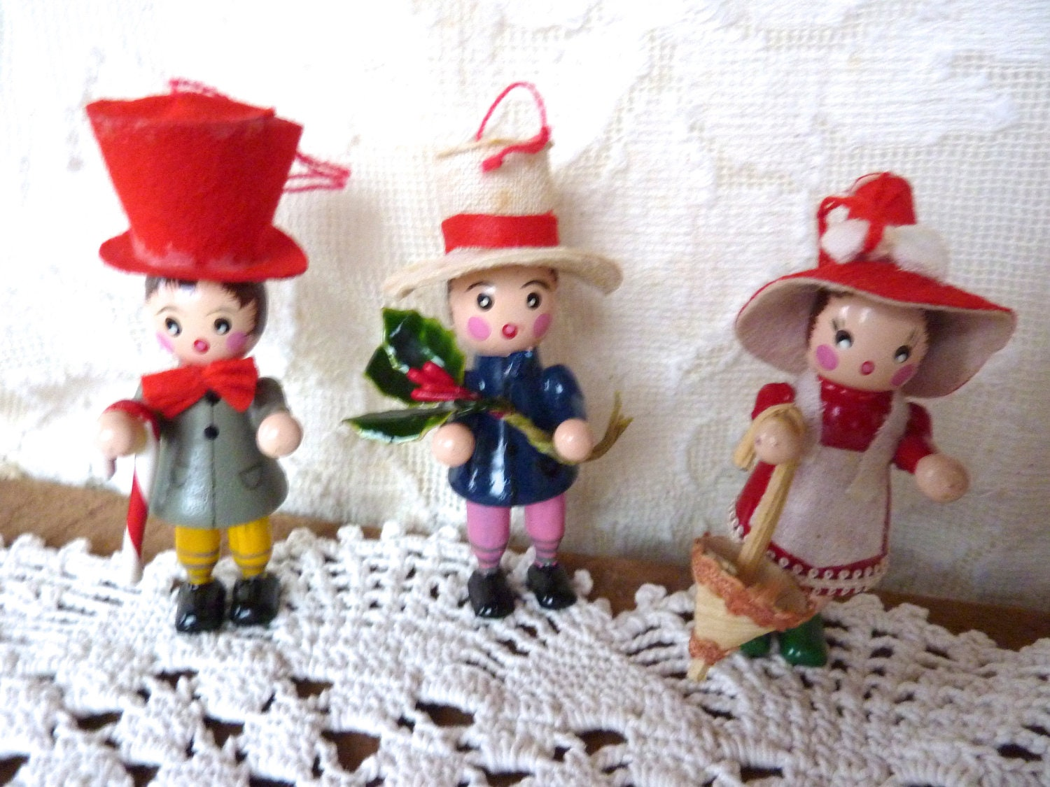 3 Wood Christmas Ornaments 1980 39 S W Hats By