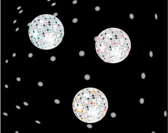 Disco Lights - Disco Balls - Digital Clip Art