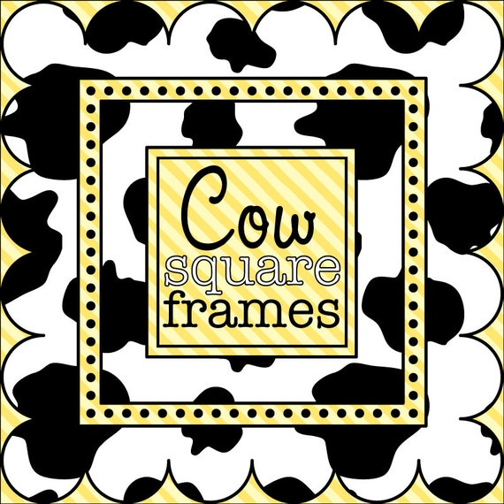 Digital Clip Art - Square Frames in Cow Print