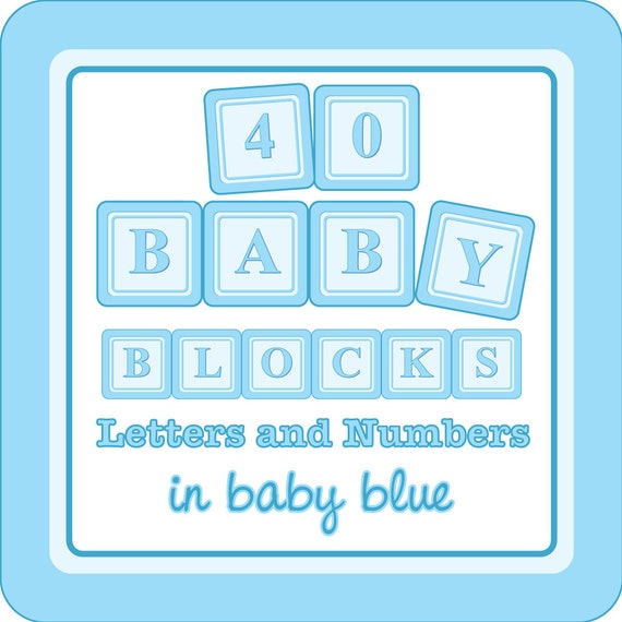 Baby Blocks Digital Clip Art - A to Z, 1 to 9 - in baby blue