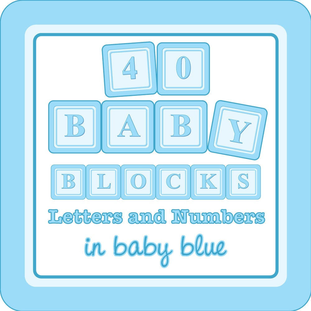 baby blocks digital clip art a to z 1 to 9 in baby blue