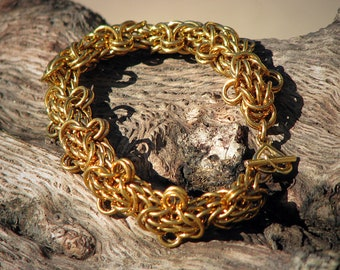 Unique and Intricate Trysantine Chainmaille Bracelet Ready to Ship Free Shipping