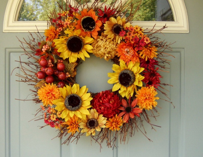 Fall wreath sunflower wreath fall door wreath wreath for Fall autumn door wreaths
