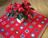 Granny Squares Crochet Blanket Afghan Retro Geranium Red