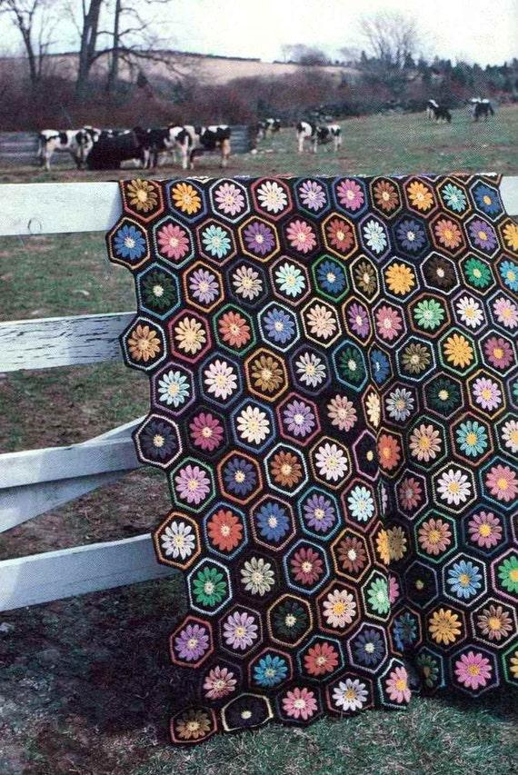 Vintage Crochet Pattern PDF 274 She Loves Me Hexgon Blanket Afghan