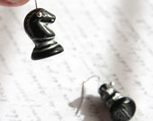 Black and Silver Chess Horse Earrings - Sterling Dangle Earrings - Chess Piece - TAGT - KapKaDesign