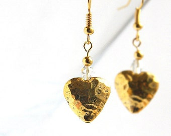 Heart of Gold Dangle Earrings inspired by song by Neil Young Anniversary Gift for her Lovely Small Hammered Hearts jewelry trend