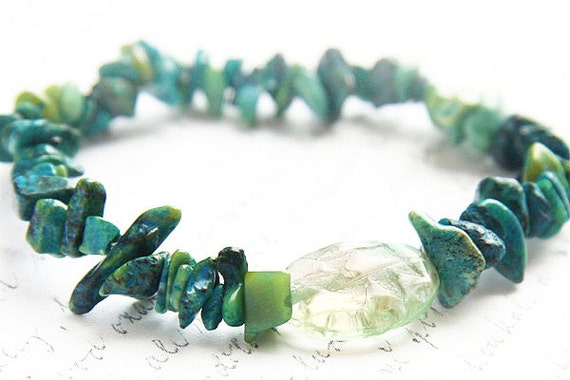 Summer Outdoors RAW Stone Bracelet Green Azurite Chrysocolla Bracelet Large Art Glass Custom Bracelet Yoga Bracelet Bohemian Jewelry Luxury