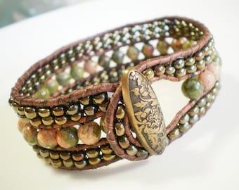 Single Leather Wrap Cuff Unikite Semi Precious Stones