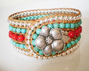 Turquoise Cuff Bracelet Red and Turquoise Jewelry Silver tone button closure