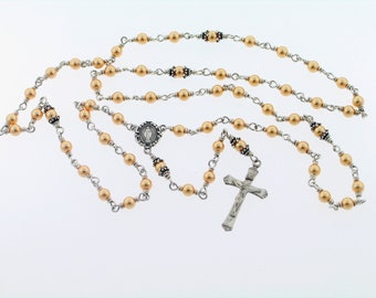 Swarovski Gold Pearl Sterling Silver Rosary Necklace