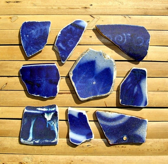 Blue Sea Pottery Shards - Scottish Beach Finds - Jewelry Supplies (1007)