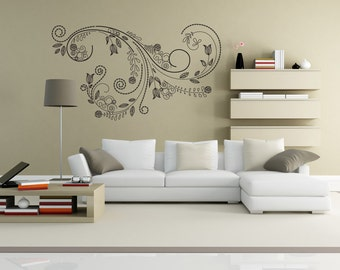 Vinyl Wall Decal Sticker Tulip Swirl 1007s