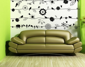 Vinyl Wall Decal Sticker Birds on Flower Vines 1015s