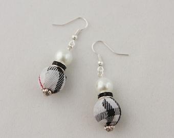 White Tartan, Black Rondelle and White Pearl Earrings