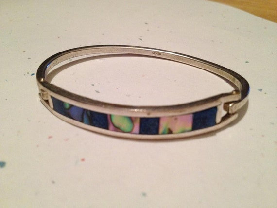 Sterling Silver Lapis and Abalone Shell Bracelet