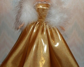 Handmade Barbie doll clothes - metallic gold gown with white boa